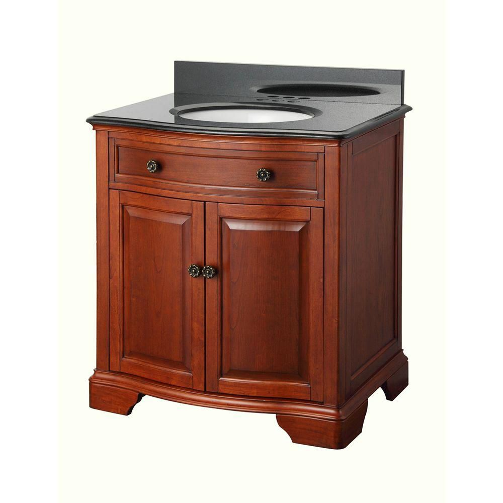 Manchester 31-inch W Vanity in Mahogany Finish with Granite Top in Black