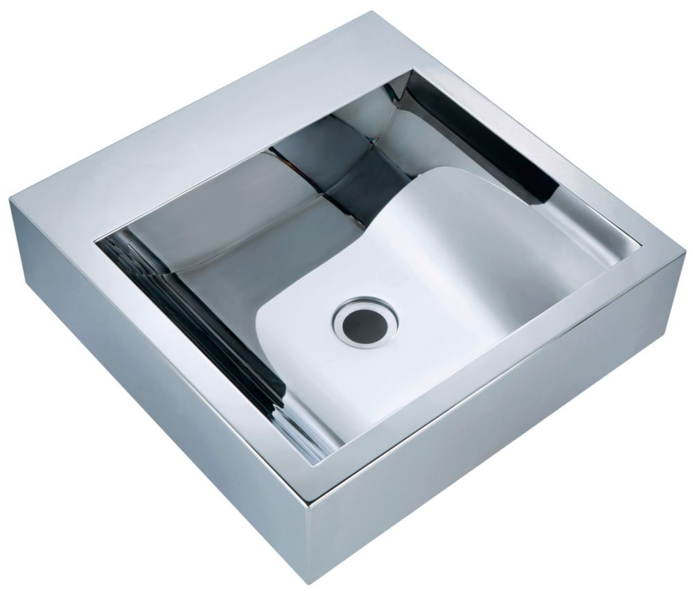 Square Mirror Polished Basin with Concave Bowl