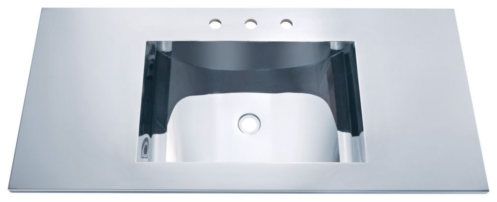 Mirror Polished Self-Rim Basin with Concave Bowl