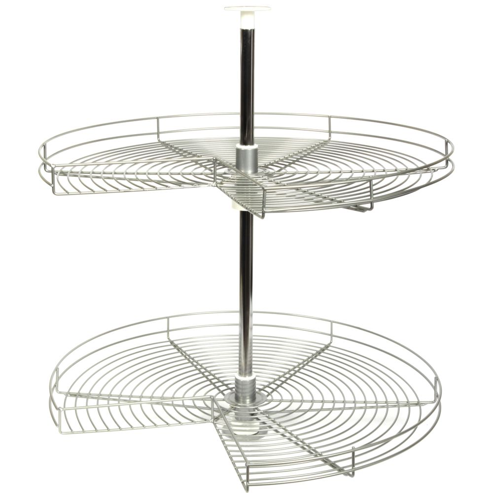 Kidney-Shaped Frosted Nickel Wire Lazy Susan - 32 Inches Diameter