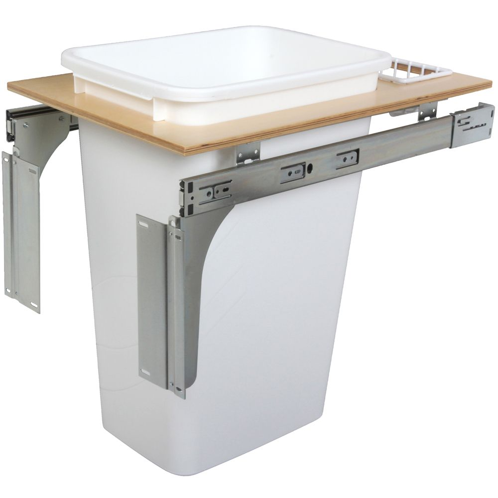 Single 50 Quart Bin White Top-Mount Waste and Recycling Unit - 14.5 Inches Wide - Lid is not Incl...