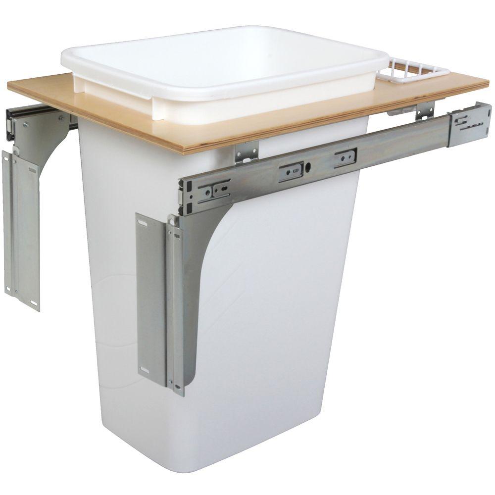 Unité à déchets et à recyclage à un contenant de 47,3 litres à installation par le dessus blanc -...
