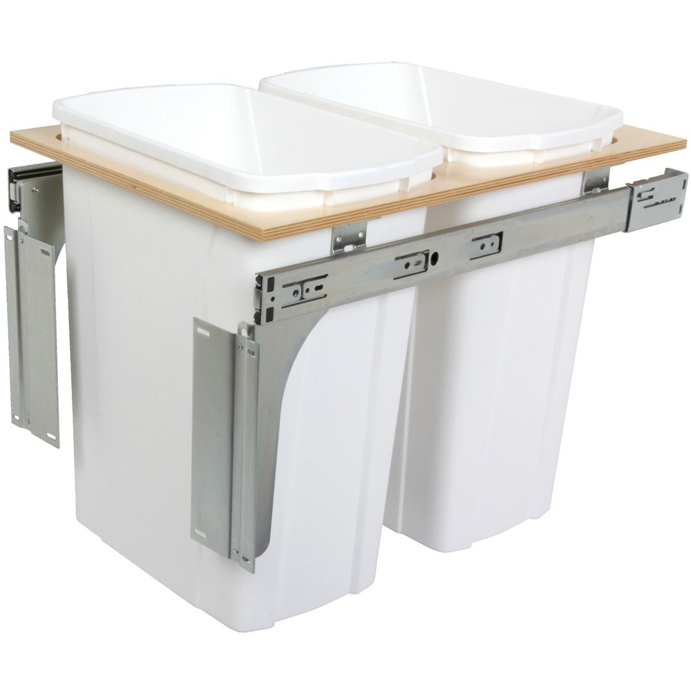 Double 35 Quart Bin White Top-Mount Waste and Recycling Unit - 15 Inches Wide - Lid is not Included