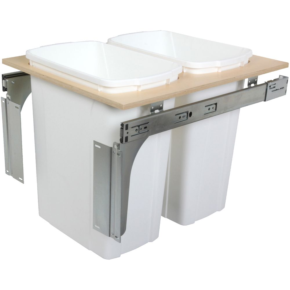 Double 35 Quart Bin White Top-Mount Waste and Recycling Unit - 17.5 Inches Wide - Lid is not Incl...