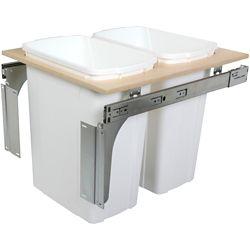 Knape & Vogt Unité à déchets et à recyclage à deux contenants de 33 litres à installation par le dessus blanc - 17,5 pouces de largeur - Couvercle non inclus