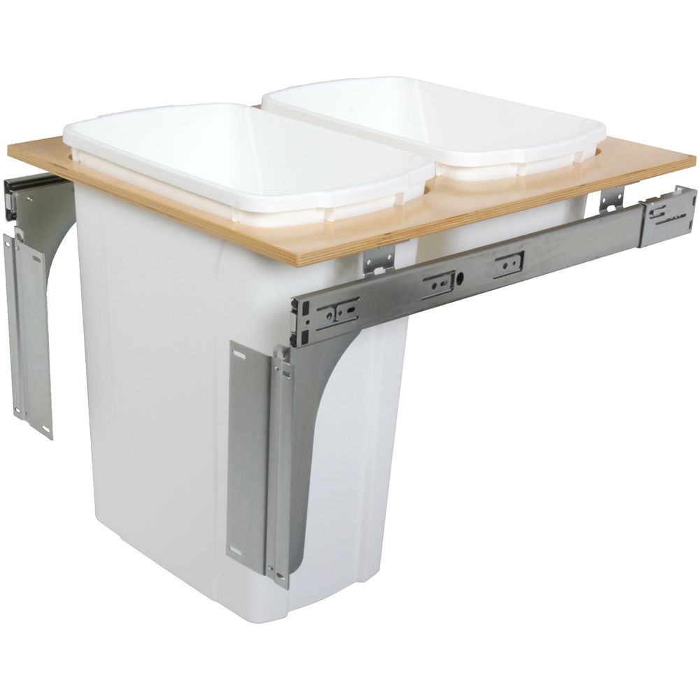 Double 35 Quart Bin White Top-Mount Waste and Recycling Unit - 18 Inches Wide - Lid is not Includ...