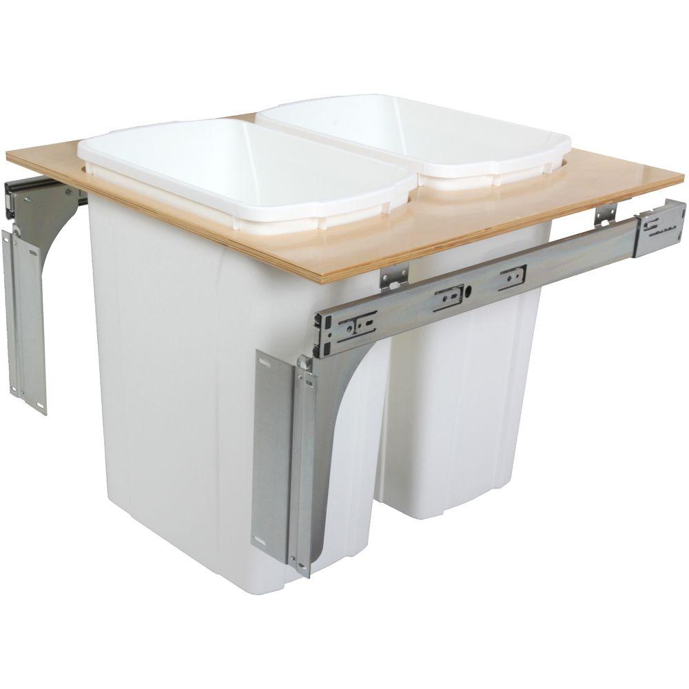 Unité à déchets et à recyclage à deux contenants de 33 litres à installation par le dessus blanc ...