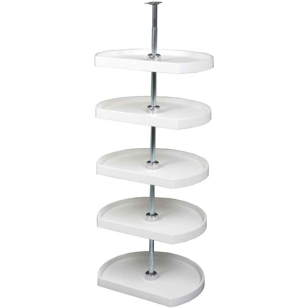 D-Shaped 5 Shelf Poly Lazy Susan - 22 Inches Diameter