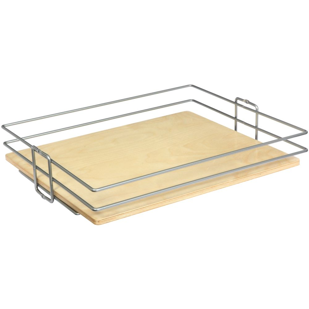 Frosted Nickel Center-Mount Pantry Basket - 14 Inches Wide