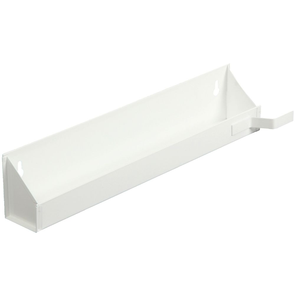 White Steel Sink Front Tray With Stops- 20.625 Inches Wide
