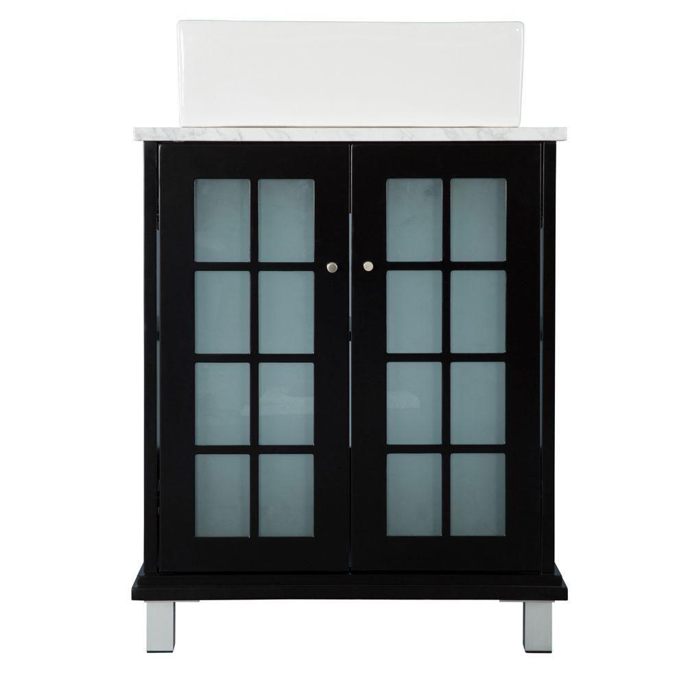 Meuble-lavabo Zen de 60,33cm (23¾po) de largeur en espresso avec revêtement de meuble-lavabo en...