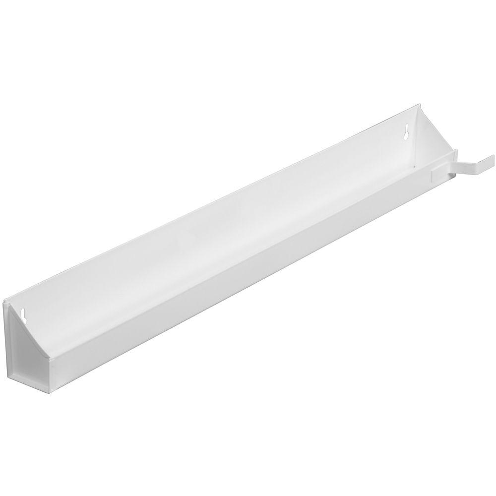 Panier faux-tiroir en acier blanc avec butées - 29,625 pouces de largeur