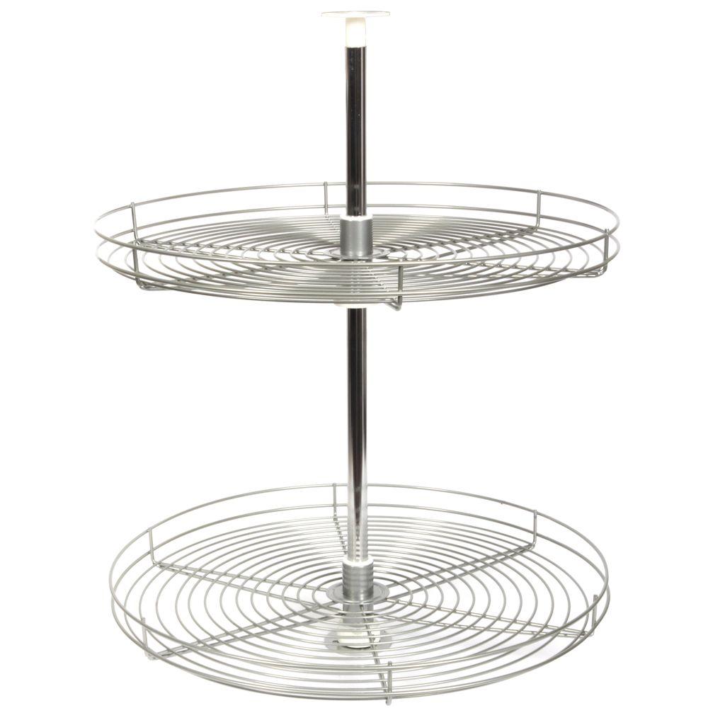 Plateaux tournants ronds en fil métallique nickel givré - 28 pouces de diamètre