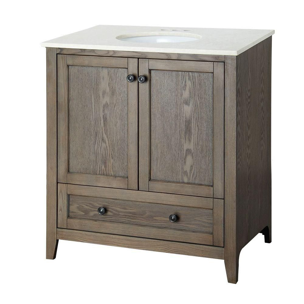 Brentwood 31 1/2-inch W Vanity in Driftwood Finish with Engineered Stone Top in Cream