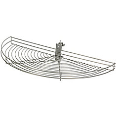 Pivot-Out Half Moon Frosted Nickel Wire Lazy Susan - 27.5 Inches Diameter