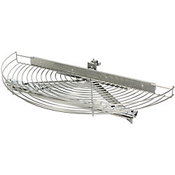 Knape & Vogt Glide-Out Half Moon Frosted Nickel Wire Lazy Susan - 27.5 Inches Diameter