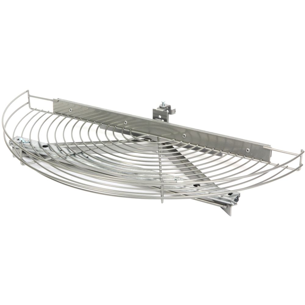 Glide-Out Half Moon Frosted Nickel Wire Lazy Susan - 27.5 Inches Diameter