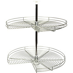 Knape & Vogt Kidney-Shaped Frosted Nickel Wire Lazy Susan - 24 Inches Diameter