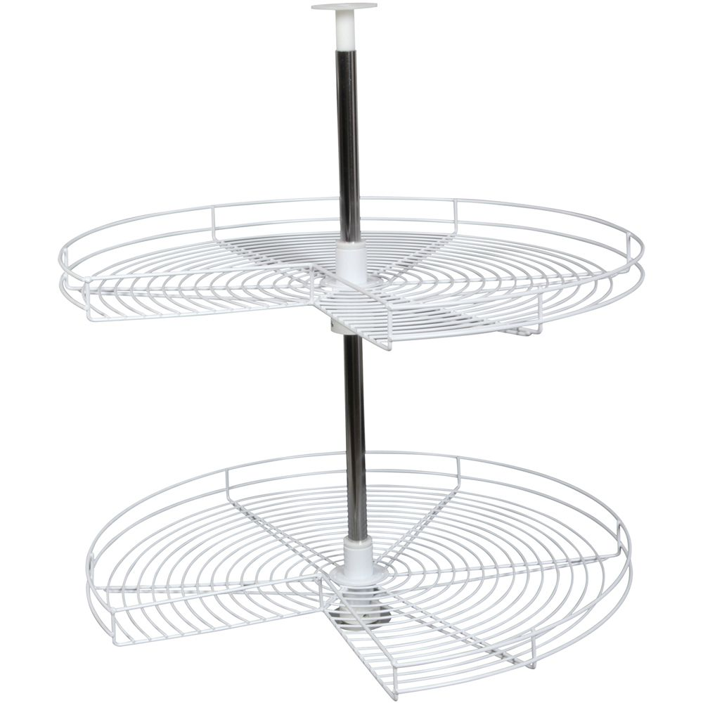 Kidney-Shaped White Wire Lazy Susan - 28 Inches Diameter