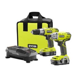 RYOBI Ens. comb. perceuse-visseuse et tournevis à perc. sans fil au lithium-ion ONE+, 18V avec 2 batteries
