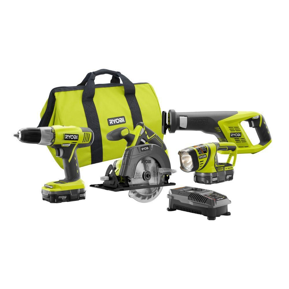 RYOBI 18V ONE+ Lithium-Ion Cordless Combo Kit (4-Tool) w/ (2) Compact Batteries P883