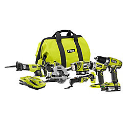 RYOBI 18V ONE+ Lithium Ion Cordless 6-Tool Combo Kit with (2) 1.5 Ah Batteries, Dual Chemistry Charger, and Tool Bag