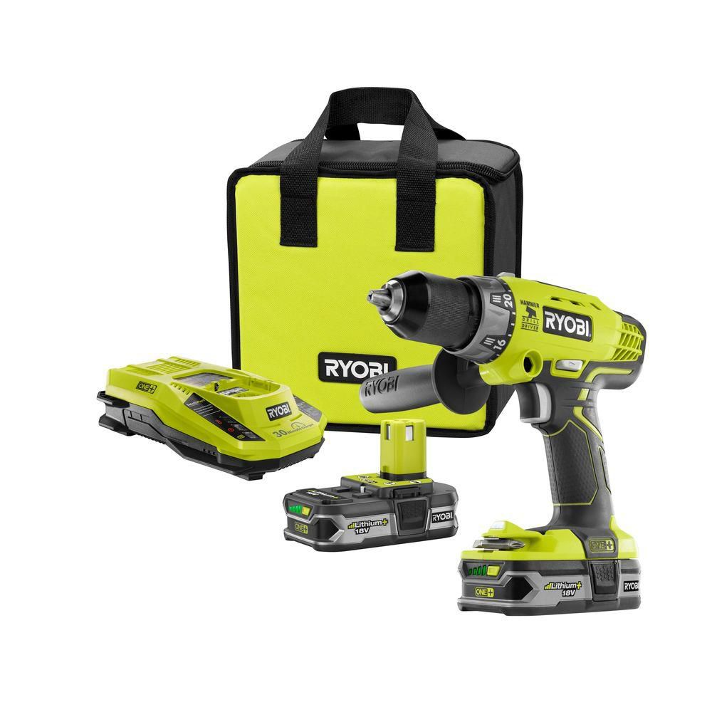 ryobi 18v one lithium hammer drill kit the home depot canada. Black Bedroom Furniture Sets. Home Design Ideas
