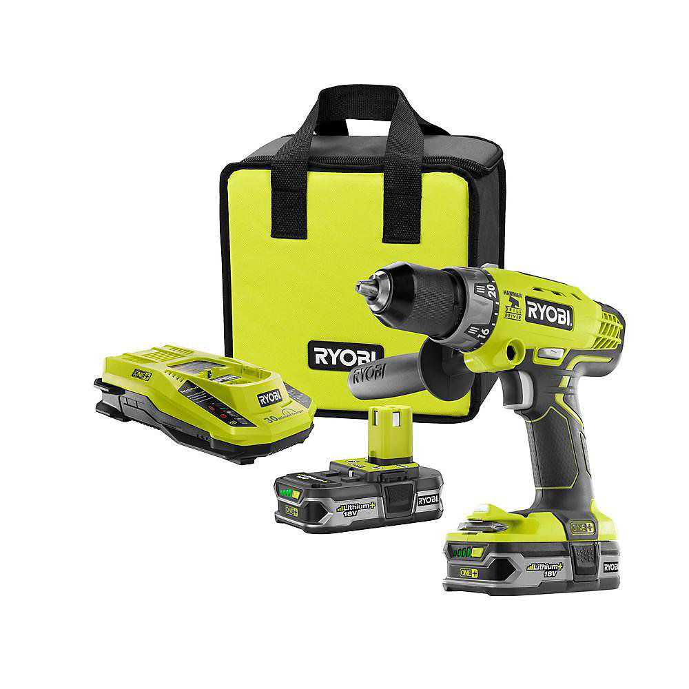 18V ONE+ Lithium-Ion Cordless Hammer Drill/Driver with (2) 1.5 Ah Batteries