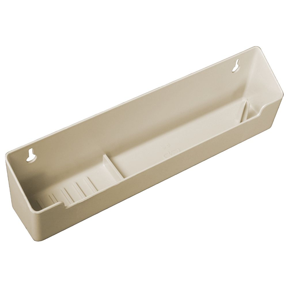 Polymer Almond Sink Front Tray with Ring Holder - 11 Inches Wide
