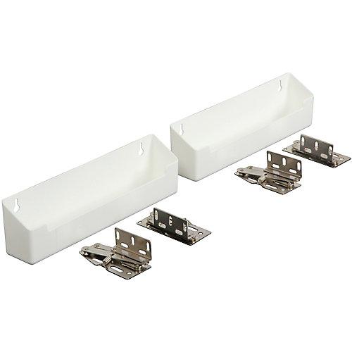 Panier faux-tiroir en polymère blanc avec charnières - 11 pouces de largeur