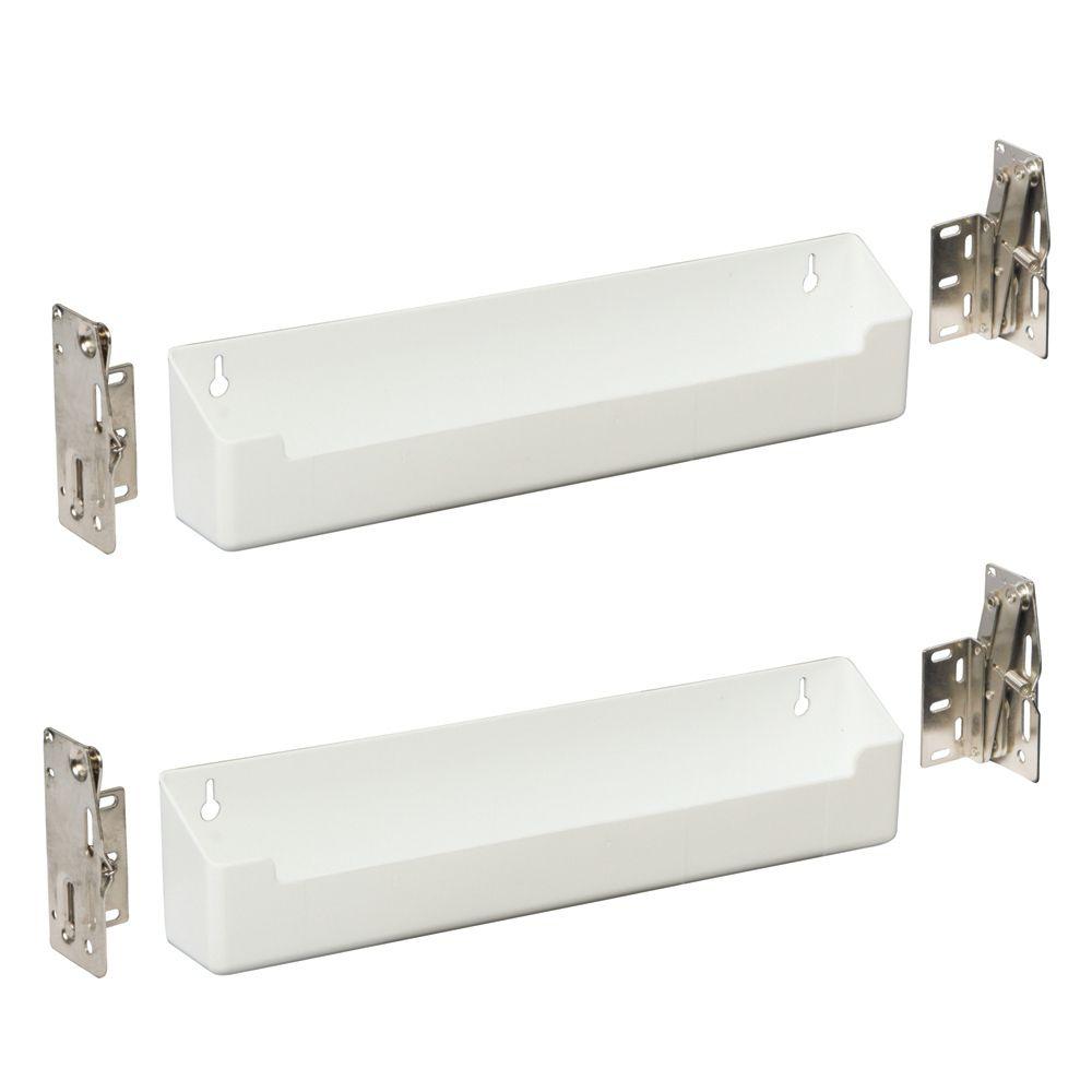 Panier faux-tiroir en polymère peu profond blanc avec charnières - 14 pouces de largeur