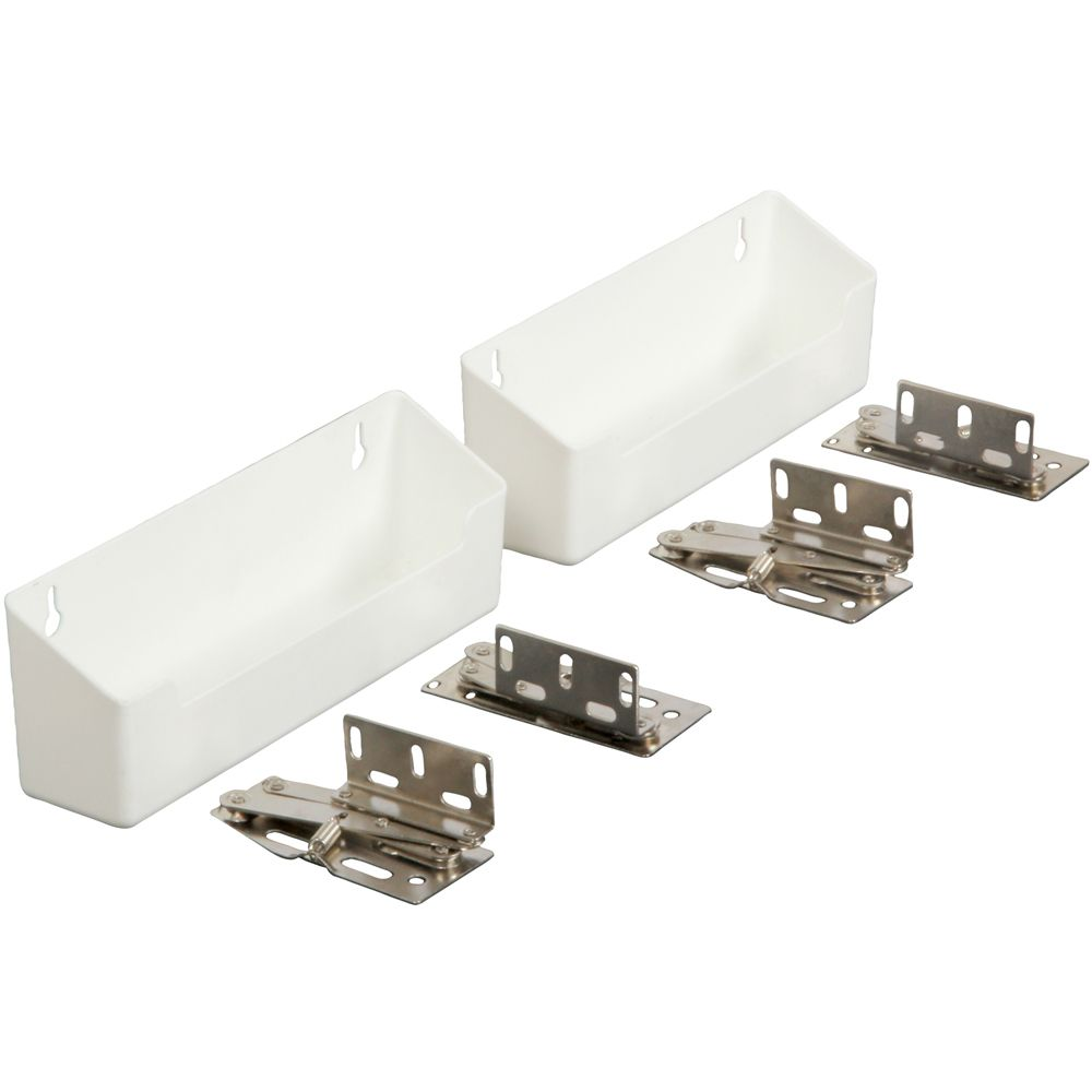 Polymer White Sink Front Tray with Shallow Depth & Hinges - 8.625 Inches Wide PSF8.62SH-2-W Canada Discount