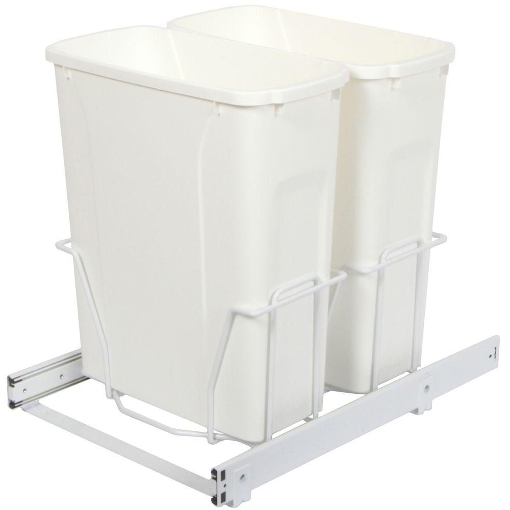 Unité à déchets et à recyclage à deux contenants de 18,9 litres - Couvercle non inclus