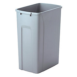 Knape & Vogt 18-inch H x 14-inch W x 9-inch D Plastic 33.1 L Replacement Pull Out Trash Can in Grey