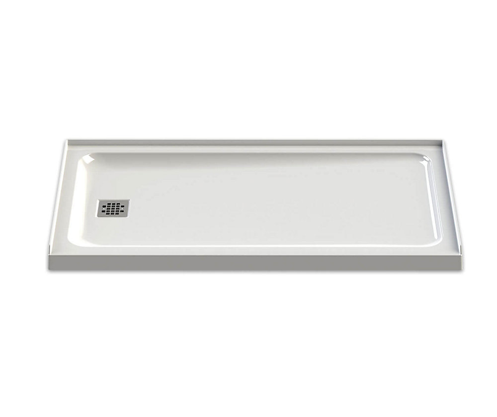 Olympia 60-inch x 32-inch Left-Drain Shower Base in White