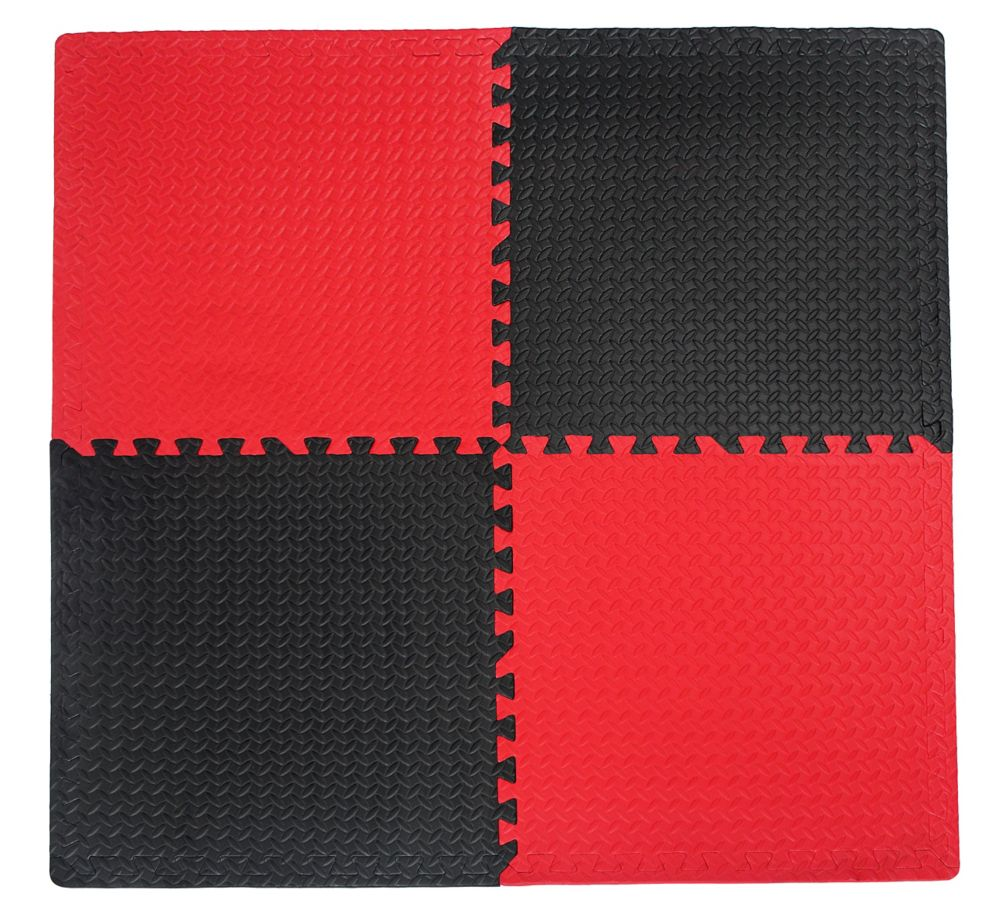 Utility Connect-A-Mat Black and Red - 24 Inches x 24 Inches (4 pack)
