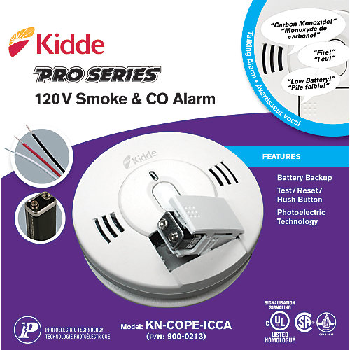 120V Photoelectric Talking Smoke and CO Alarm with Battery Backup