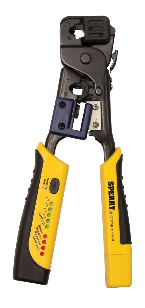 Crimp-n-Test� RJ45 Crimper and Tester, 4-in-1 Tool, Cuts, Strips, Terminates and Tests, 1/Ea