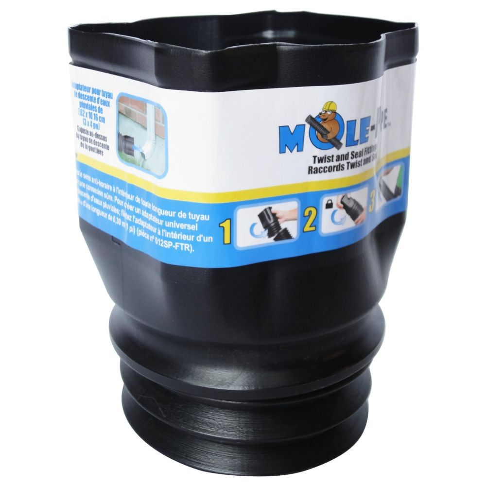 Mole Pipe Twist And Seal 3x4 Downspout Adapter The Home