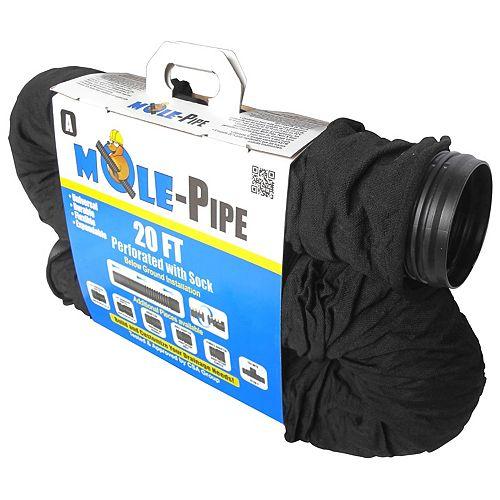 MOLE-Pipe 20 Feet  Expandable Corrugated Sock Pipe