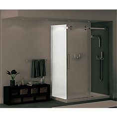 Halo 32-inch Return Panel for Sliding Shower Door with Clear Glass and Chrome Finish