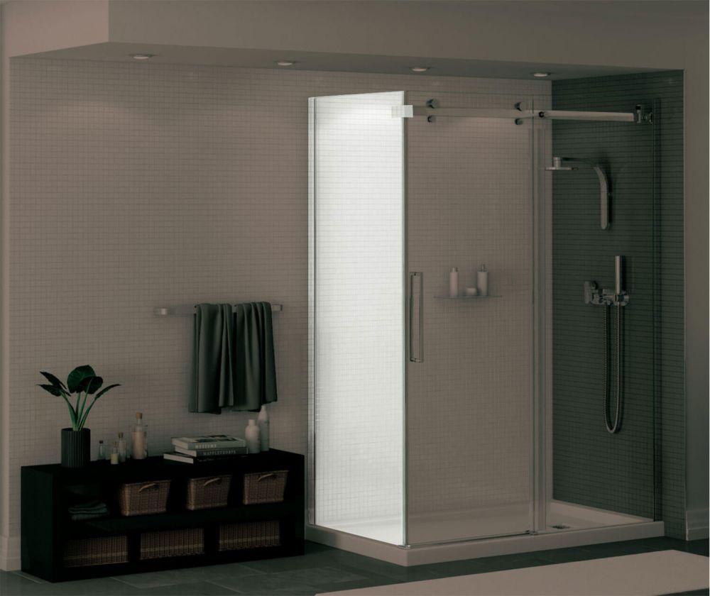 Maax Duel Frameless Fixed Shower Door Panel In Chrome