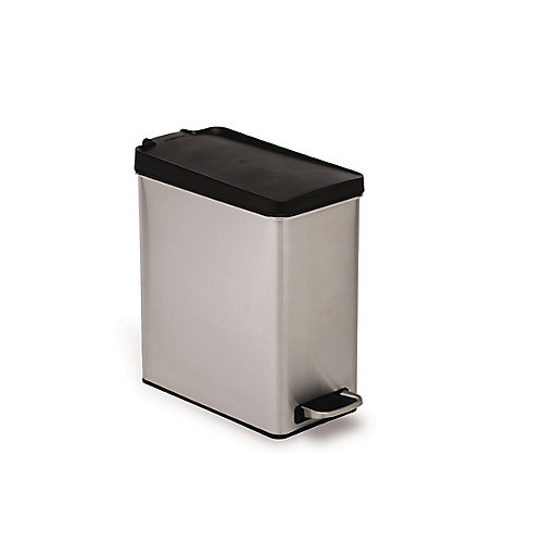 10 L Brushed Stainless Steel Slim Profile Step-On Trash Can with Black Plastic Lid