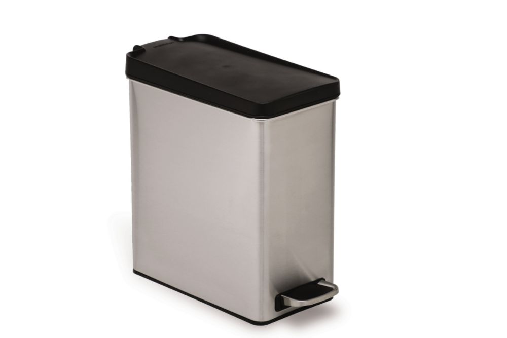 Simplehuman 10 L Brushed Stainless Steel Slim Profile Step-On Trash Can with Black Plastic Lid