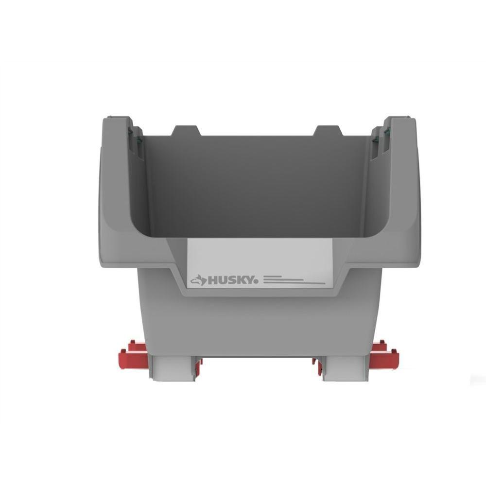 HUSKY Stackable 9-inch Click Bins in Grey (4-Pack)