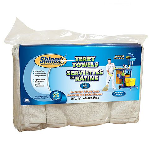Shinex Janitorial Terry Towels (25-Pack)