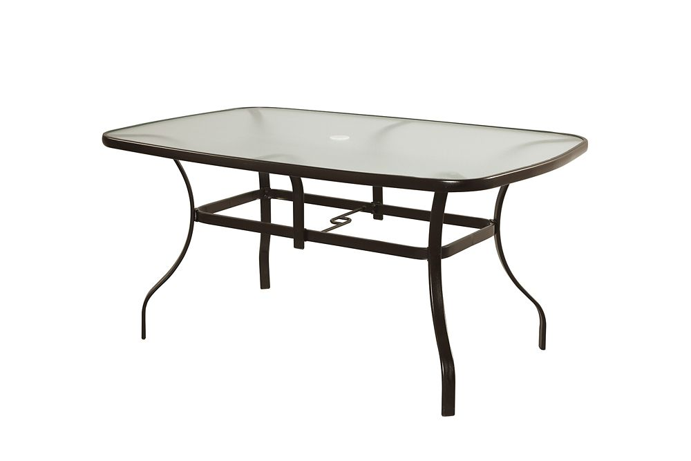 60 inch steel rectangular outdoor dining table the home depot canada