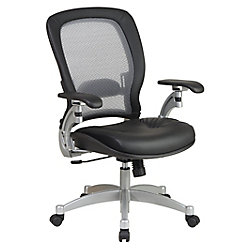 Office Star Professional Light Air Grid Back Chair with Leather Seat