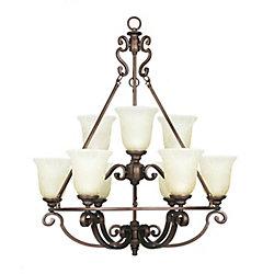 Home Decorators Collection Lustre Fairview à 9 lumières de 29,5 po - Bronze héritage avec abat-jour en verre soluble teinté de thé