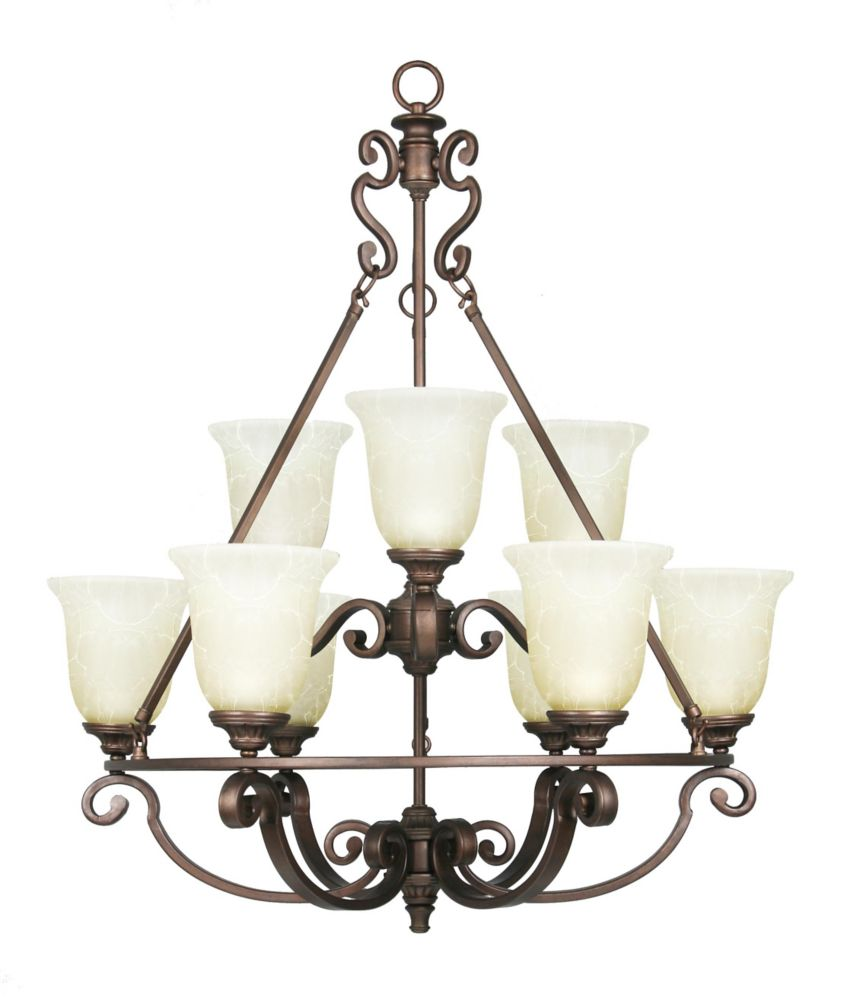 Home Decorators Collection Fairview 9 Light Chandelier 29.5 Inch - Heritage Bronze with Tea Stained Water Glass Shades